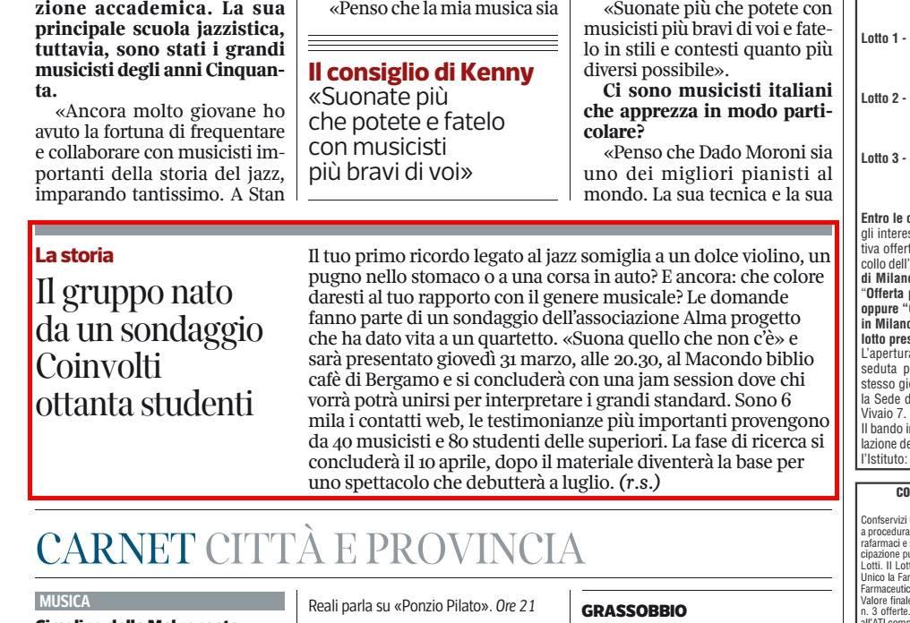 Articolo di R. Scardi (Corriere Della Sera Bergamo)